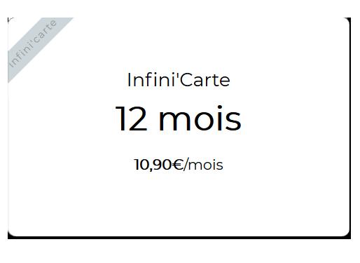 Infini'carte 12 mois